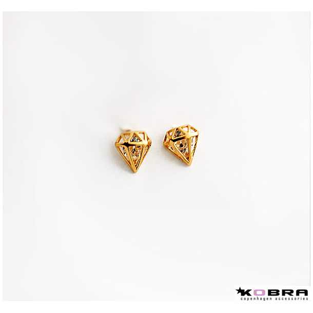 Guld diamant øreringe