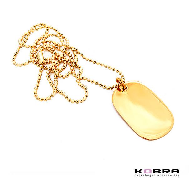 Dogtag, army tag i guld (størrelse large) med mulighed for gravering