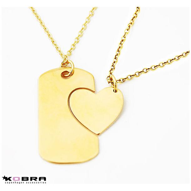 Dogtag i guld med guld hjerte inklusiv gravering