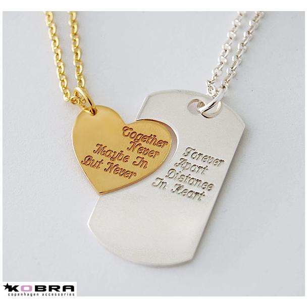 Dogtag i sølv og hjerte i guld inklusiv gravering