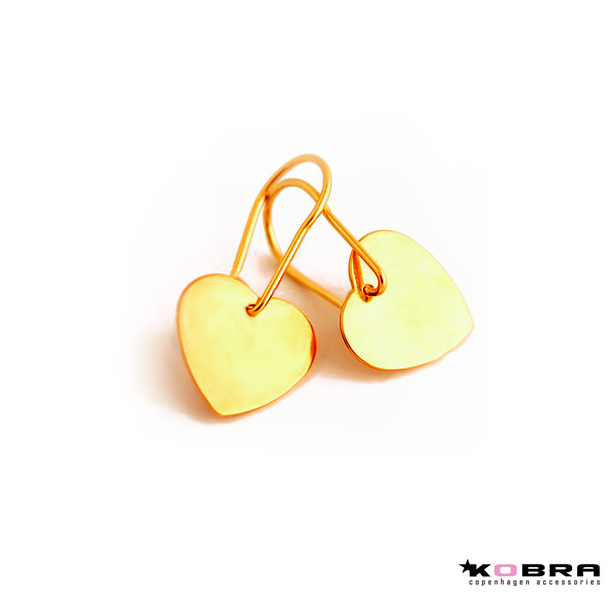 Små guld hjerte øreringe
