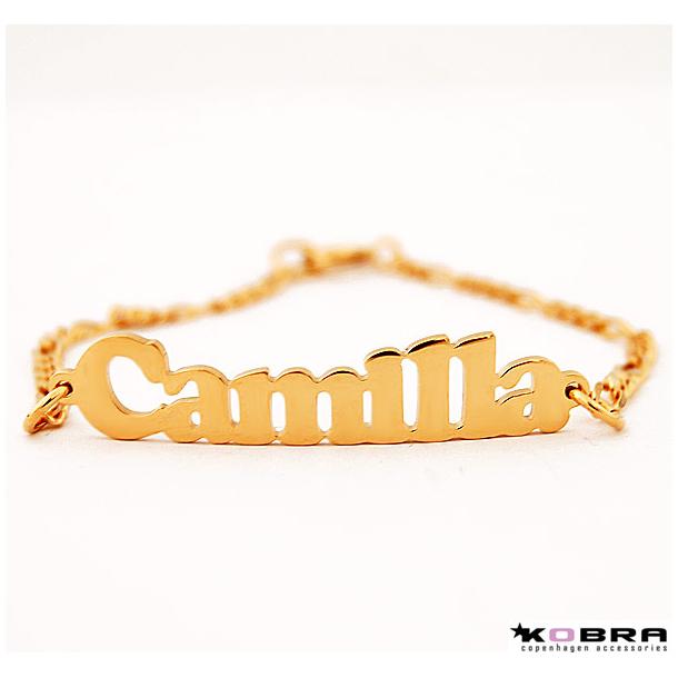 Håndlavet navne armbånd i i guld, model 3