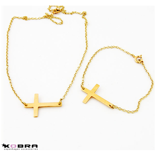 Guld kors halskæde og guld kors armbånd (sæt)