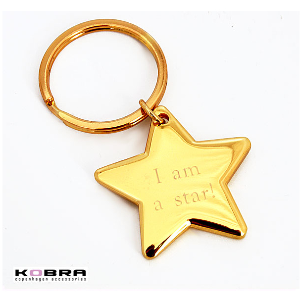 Nøglering med kæmpe guldstjerne, med mulighed for personlig gravering