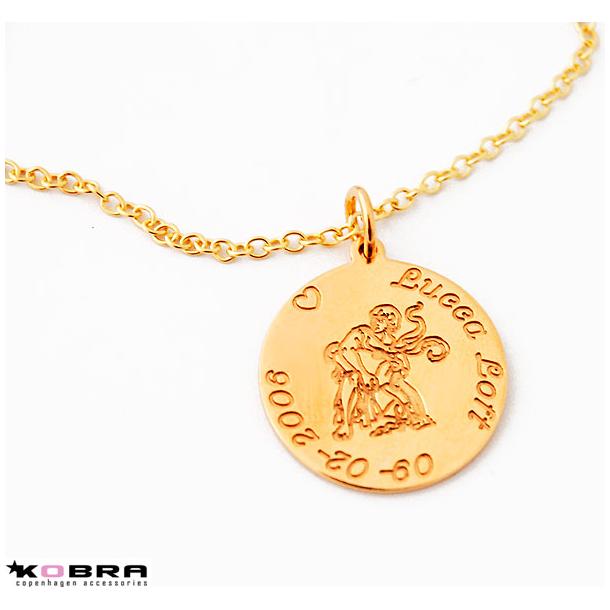 Guldhalskæde med dit stjernetegn, inklusiv gravering