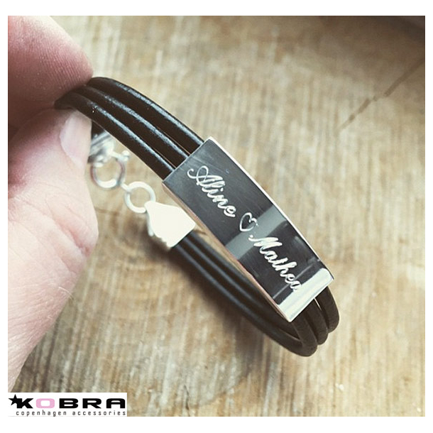 3i1 ID Læderarmbånd med sølvplade, inklusiv gravering
