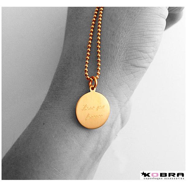 ID tag, guld halskæde i børstet guld inklusiv gravering