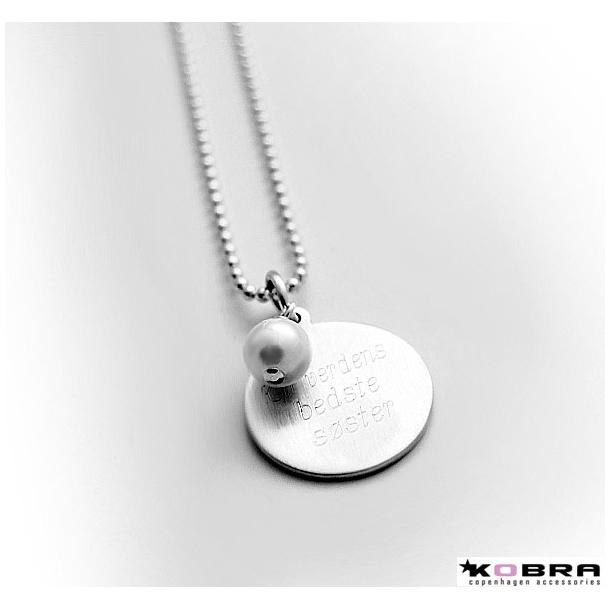 ID Tag halskæde med perle i sølv, inklusiv gravering