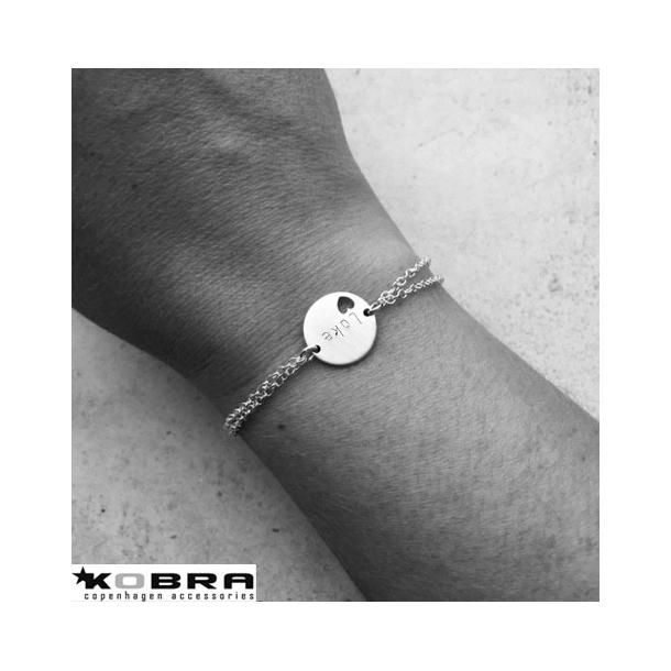 ID tag armbånd med hjerte i sterling sølv inklusiv gravering