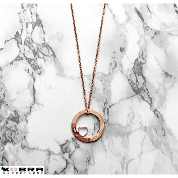 Love Wheel med hjerte i rose guld, inklusiv din personlige gravering