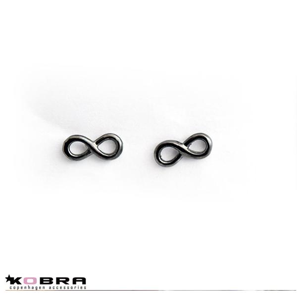 Infinity øreringe i sort rhodineret sterling sølv