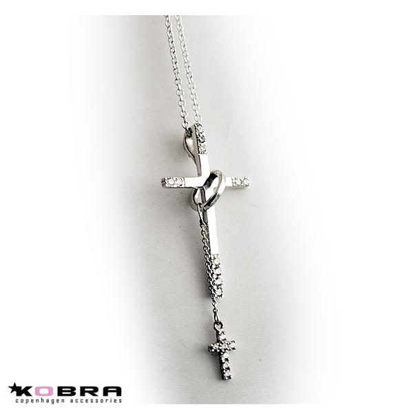 Kors halskæde i sølv med lille kors