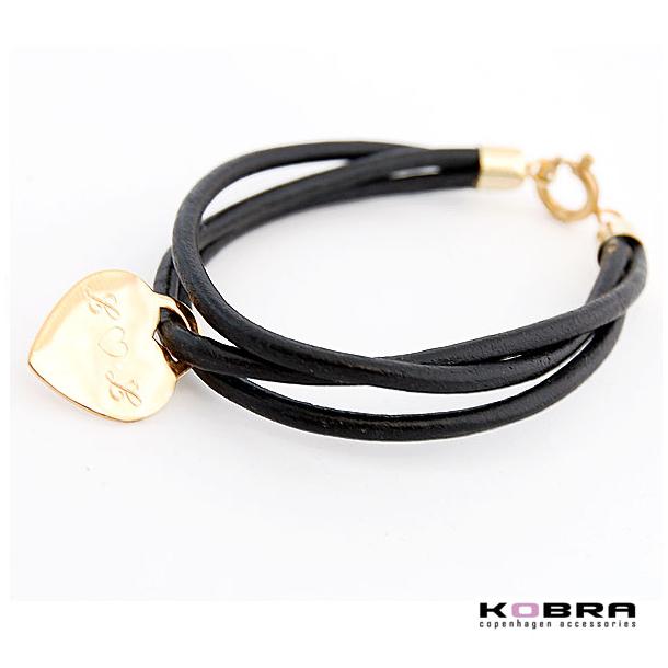3i1 sort læderarmbånd med guldhjerte, inklusiv gravering