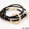 Sort læderarmbånd med guld Love Wheel med hjerte og mulighed for swarovski perler, inklusiv personlig gravering
