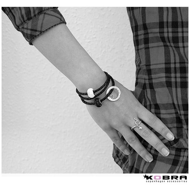 Læderarmbånd med sølv Love Wheel med hjerte og mulighed for swarovski perler, inklusiv personlig gravering