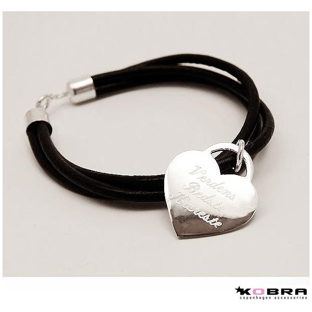 3i1 Læderarmbånd med stort sølvhjerte, inklusiv gravering