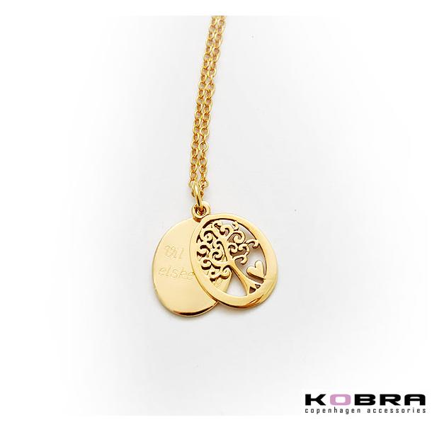 Guld halskæde med Livets Træ med plade til gravering