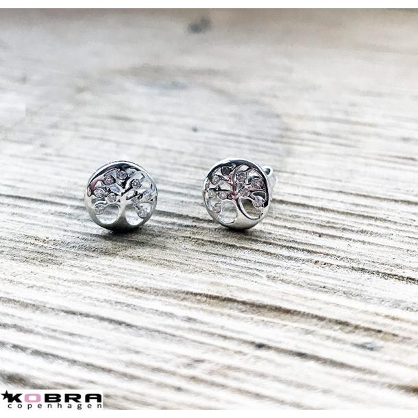 Små Livets træ øreringe i sterling sølv med sten