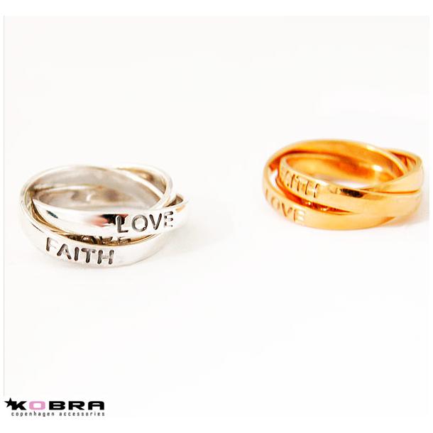 Guld ring Love, Faith, Hope