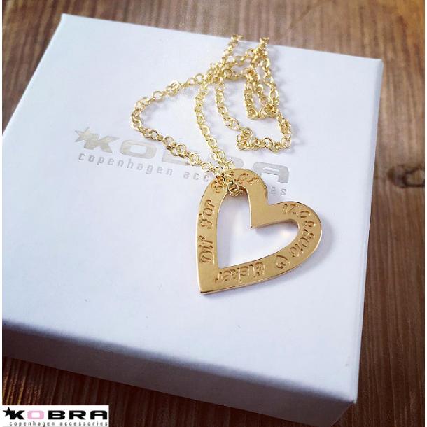 Love Heart, hjerte halskæde i guld, inklusiv gravering