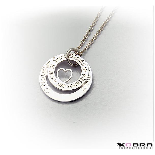 Dobbelt Love Wheel sølvhalskæde med hjerte, inklusiv gravering