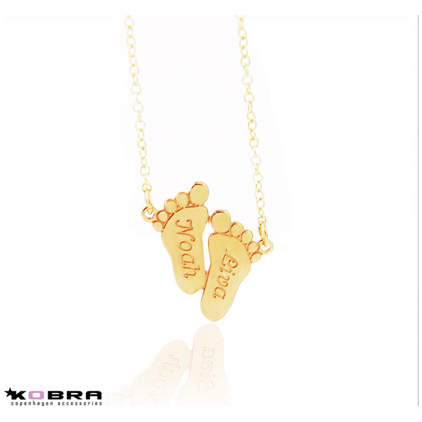 Mor Barn smykke, babyfødder i guld med gravering