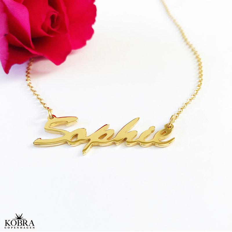 grossistpris hög kvalitet utsökt design Handgjorda namn halsband i guld modell 2