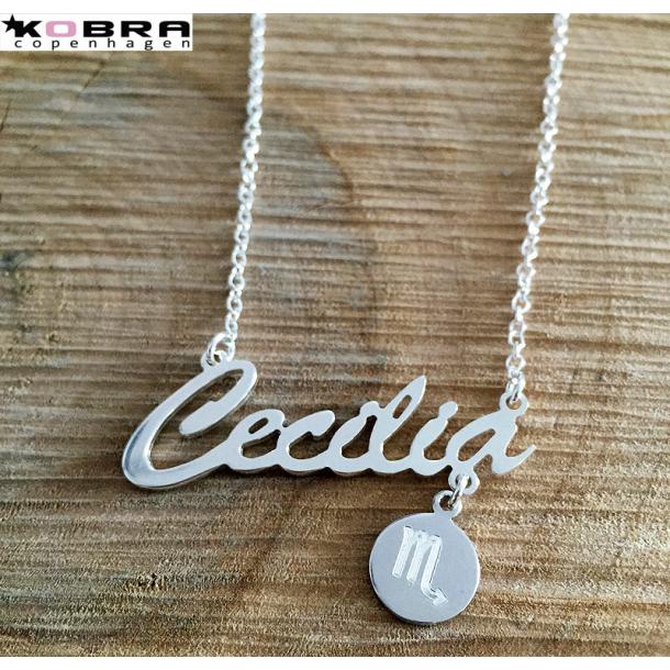 Navne halskæde i sterling sølv med ditpersonlige stjernetegn