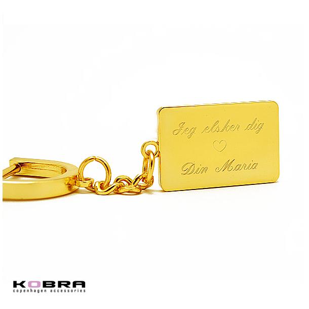 Dogtag nøglering i guld, med personlig gravering