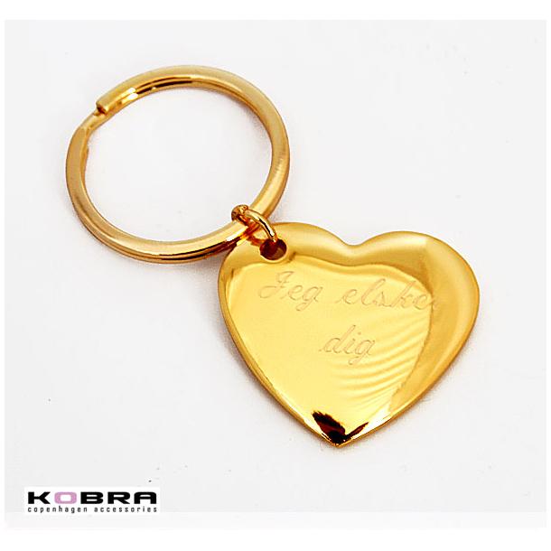 Nøglering med kæmpe guld hjerte, med mulighed for personlig gravering