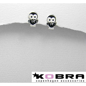 Små silverörhängen med svart ugglor 2a31d7f11609a