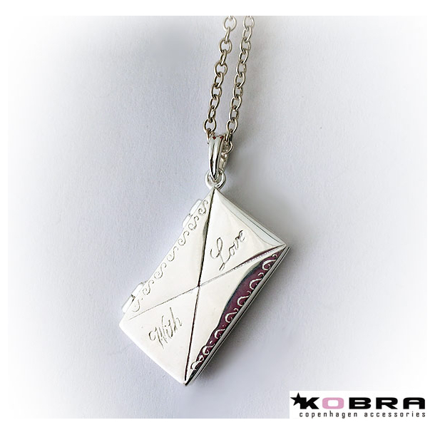 Sølv medaljon halskæde med kuvert som kan åbnes