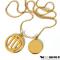 Guld halskæde med dit stjernetegn og lille rund charm