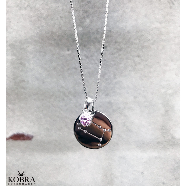 Stjernetegns halskæde /zodiac med zirkonia sten i sterling sølv