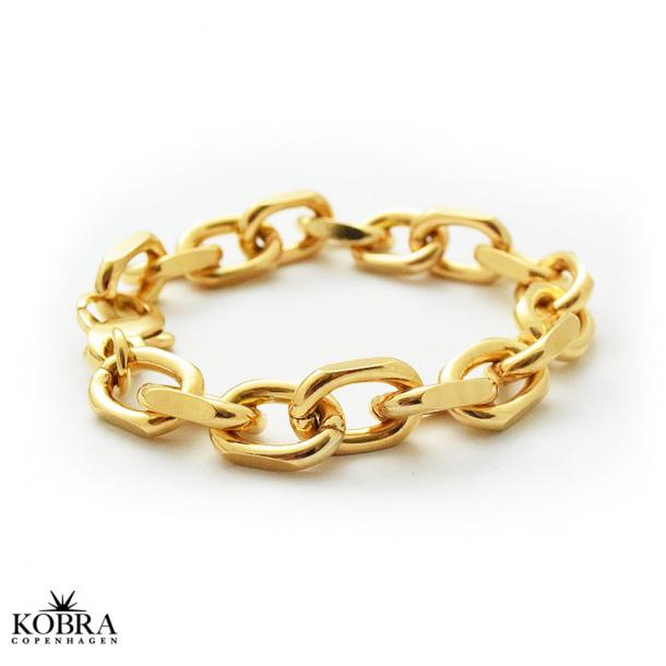 Stor massiv ankerkæde i guld med brede led
