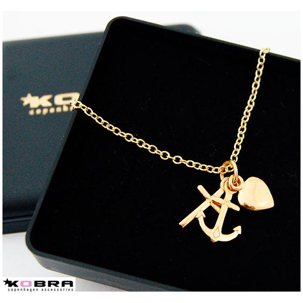 Tro, Håb og Kærlighed, guld halskæde med 3 symboler