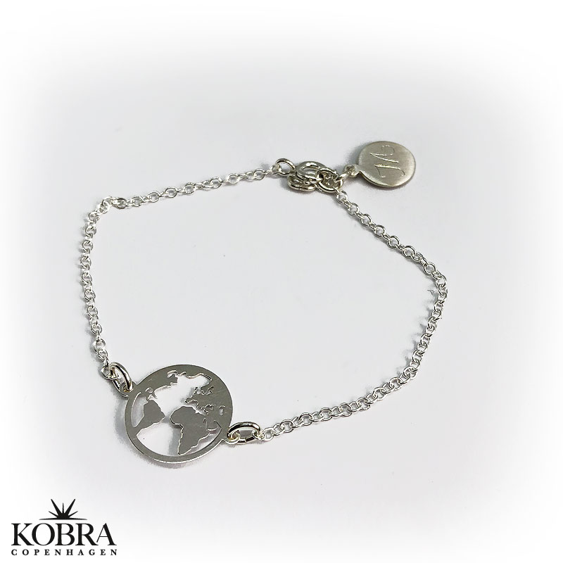 World Silver Bracelet With World Map And Personal Engraving